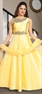 1511629: Wedding Yellow color Gown in Art Silk fabric with Stone, Thread work