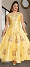 1511631: Wedding Yellow color Gown in Art Silk fabric with Stone, Thread work
