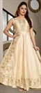 1511632: Wedding Beige and Brown color Gown in Art Silk fabric with Embroidered, Stone, Thread, Zari work