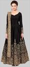 1511647: Party Wear Black and Grey color Salwar Kameez in Taffeta Silk fabric with Abaya, Anarkali Embroidered, Thread, Zari work