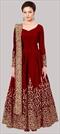 1511653: Party Wear Red and Maroon color Salwar Kameez in Taffeta Silk fabric with Abaya, Anarkali Embroidered, Thread, Zari work