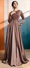 1511859: Party Wear Beige and Brown color Kurti in Satin Silk fabric with Bugle Beads, Embroidered, Resham, Thread work