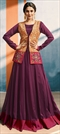 1511865: Party Wear Pink and Majenta color Kurti in Georgette, Silk fabric with Appliques, Printed work