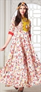 1512596: Casual Multicolor color Gown in Milan Silk fabric with Printed work