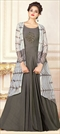 1513168: Wedding Black and Grey color Gown in Rayon fabric with Abaya Patch, Stone work