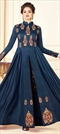 1513172: Wedding Blue color Gown in Rayon fabric with Abaya Resham, Thread, Zari work