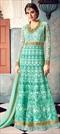 1514321: Bollywood Blue color Salwar Kameez in Net fabric with Abaya, Anarkali Embroidered, Resham, Stone, Thread, Zari work