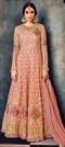 1514326: Bollywood Pink and Majenta color Salwar Kameez in Net fabric with Abaya, Anarkali Embroidered, Resham, Stone, Thread, Zari work