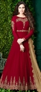 1516904: Mehendi Sangeet Red and Maroon color Salwar Kameez in Georgette fabric with Abaya, Anarkali Embroidered, Stone, Thread, Zari work