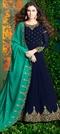 1516906: Mehendi Sangeet Blue color Salwar Kameez in Georgette fabric with Abaya, Anarkali Embroidered, Resham, Stone, Thread, Zari work