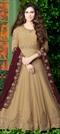 1516908: Mehendi Sangeet Beige and Brown color Salwar Kameez in Georgette fabric with Abaya, Anarkali Embroidered, Stone, Thread, Zari work