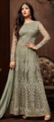 1518329: Bollywood Green color Salwar Kameez in Net fabric with Straight Embroidered, Resham, Stone, Thread work