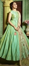 1522545: Party Wear Green color Gown in Silk fabric with Embroidered, Thread work