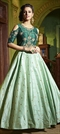 1522548: Party Wear Green color Gown in Silk fabric with Bugle Beads, Stone, Thread, Zari work