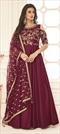 1522549: Party Wear Red and Maroon color Gown in Silk fabric with Embroidered, Stone, Thread, Zari work