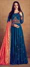 1523727: Party Wear Blue color Gown in Rayon fabric with Embroidered, Resham, Thread, Zari work