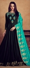 1523731: Party Wear Black and Grey color Gown in Rayon fabric with Embroidered, Resham, Thread, Zari work