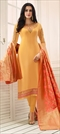 1524498: Party Wear Orange color Salwar Kameez in Faux Georgette fabric with Straight Embroidered, Resham, Thread, Zari work