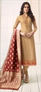 1524515: Party Wear Beige and Brown color Salwar Kameez in Faux Georgette fabric with Straight Embroidered, Resham, Stone, Thread, Zari work