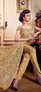 1526033: Wedding Beige and Brown color Salwar Kameez in Net fabric with Slits Embroidered, Resham, Stone, Thread, Zari work