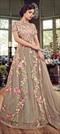 1526035: Wedding Beige and Brown color Salwar Kameez in Net fabric with Abaya Embroidered, Resham, Thread work