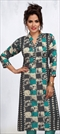 1526834: Casual Black and Grey, Blue color Kurti in Rayon fabric with Printed work