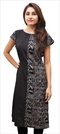 1529595: Casual Black and Grey color Kurti in Polyester Silk fabric with Printed work