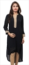 1529598: Casual Black and Grey color Kurti in Rayon fabric with Thread work