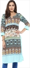 1529604: Casual Multicolor color Kurti in Polyester Silk fabric with Printed work