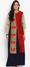 1530476: Casual Blue, Red and Maroon color Kurti in Chanderi Silk fabric with Patch work