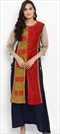 1530478: Casual Blue, Red and Maroon color Kurti in Chanderi Silk fabric with Patch work
