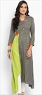 1530480: Casual Black and Grey, Green color Kurti in Rayon fabric with Embroidered work
