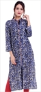 1530864: Casual, Designer Blue color Kurti in Cotton fabric with Printed work