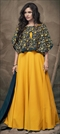 1531383: Party Wear Yellow color Gown in Faux Georgette fabric with Embroidered, Thread, Zari work