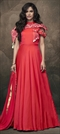 1531385: Party Wear Red and Maroon color Gown in Taffeta Silk fabric with Embroidered, Resham, Stone work