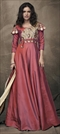1531388: Party Wear Red and Maroon color Gown in Taffeta Silk fabric with Embroidered, Resham, Thread work