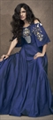 1531390: Party Wear Blue color Gown in Taffeta Silk fabric with Embroidered, Thread, Zari work