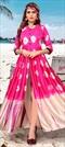 1532049: Casual Pink and Majenta color Kurti in Satin Silk fabric with Printed, Tye n Dye work