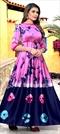 1532051: Casual Blue, Pink and Majenta color Kurti in Satin Silk fabric with Printed, Tye n Dye work