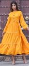 1532176: Designer Yellow color Kurti in Rayon fabric with Gota Patti work