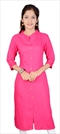 1532657: Designer Pink and Majenta color Kurti in Cotton fabric with Thread work