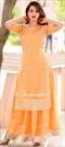 1533348: Designer Orange color Tunic with Bottom in Crepe Silk fabric with Gota Patti work