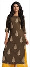 1534733: Designer Beige and Brown color Kurti in Rayon fabric with Printed work