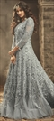 1536294: Party Wear Black and Grey color Salwar Kameez in Net fabric with Abaya, Anarkali Embroidered, Resham, Stone, Thread work