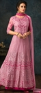 1536680: Party Wear Pink and Majenta color Salwar Kameez in Net fabric with Abaya, Anarkali Embroidered, Resham, Thread work