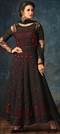 1536681: Party Wear Black and Grey, Red and Maroon color Salwar Kameez in Net fabric with Abaya, Anarkali Embroidered, Resham, Sequence, Thread work