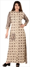 1537542: Designer Beige and Brown color Kurti in Cotton fabric with Printed work