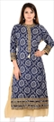 1537567: Designer Blue color Kurti in Cotton fabric with Bandhej, Printed, Thread work