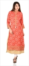 1537569: Designer Red and Maroon color Kurti in Cotton fabric with Bandhej, Printed, Thread work