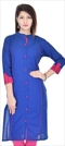 1538630: Designer Blue color Kurti in Cotton fabric with Thread work